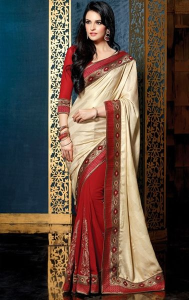 Picture of Flamboyant Buttercream and Maroon Color Saree