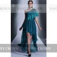 Simple One shoulder Long Ink Blue Cocktail Dresses   Fanny Crown