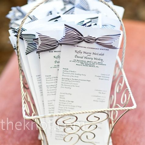 Kelly designed cardstock programs and tied a fun striped, black-and-white ribbon on the top.