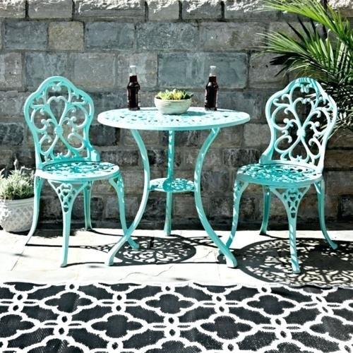Good Iron Bistro Set Outdoor For Turquoise Fleur De Lis Cast Iron