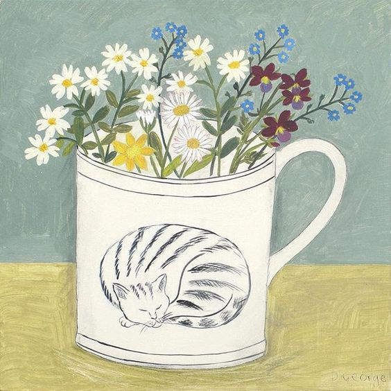 'Cat cup and flowers' inspired by garden flowers and an illustration from a…