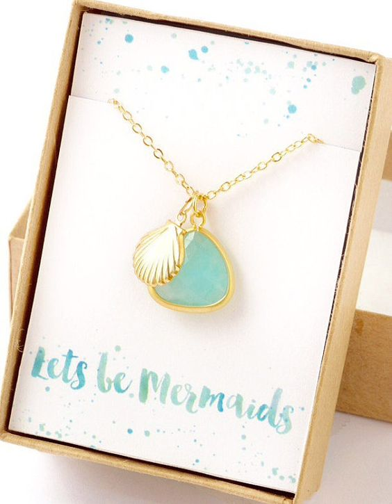 Let's Be Mermaids Charm Necklace Gift Jewelry by LimonBijoux: