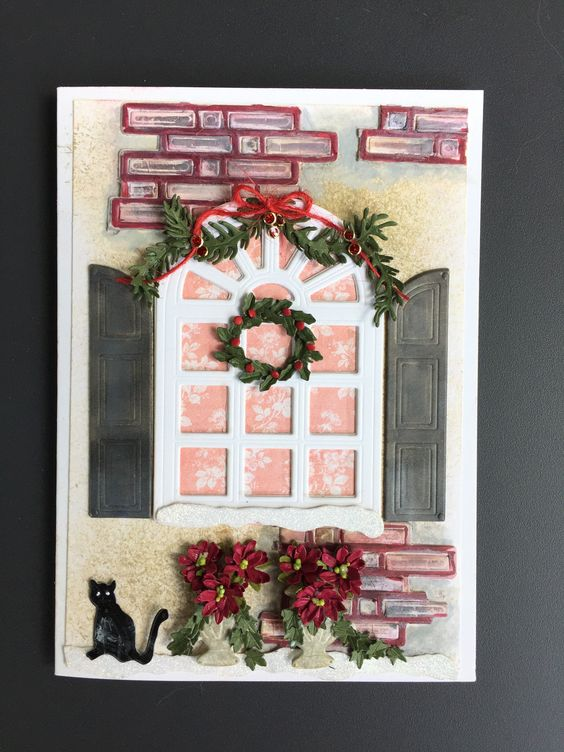What a lovely winter window scene by Susan Tierney-Cockburn of Susan's Garden Club. Recreate this card with Garden Notes - Carolina Window  & Shutters, Garden Notes - Holiday Holly & Berries, CountryScapes - Backyard 4 Snow Decor, CountryScapes - Backyard 2, CountryScapes - CountryCritters 1, CountryScapes - Backyard 2, Els van de Burgt Studio - Bricks.