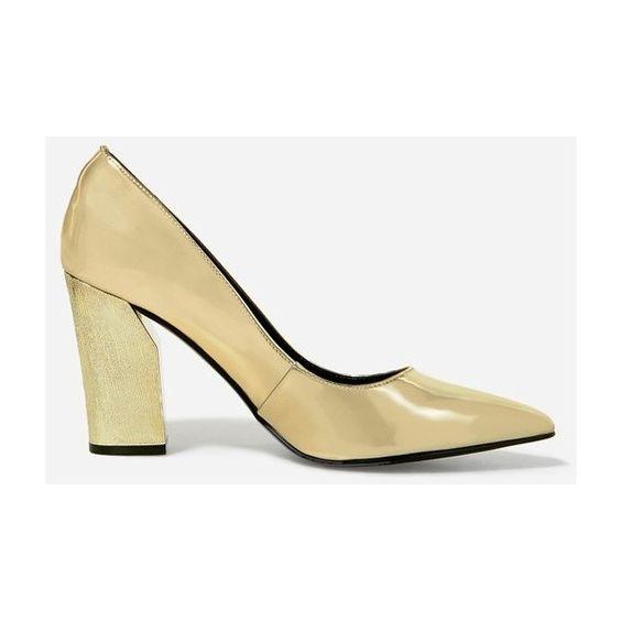 CHARLES & KEITH Metallic Block Heel Pumps ($13) ❤ liked on ...