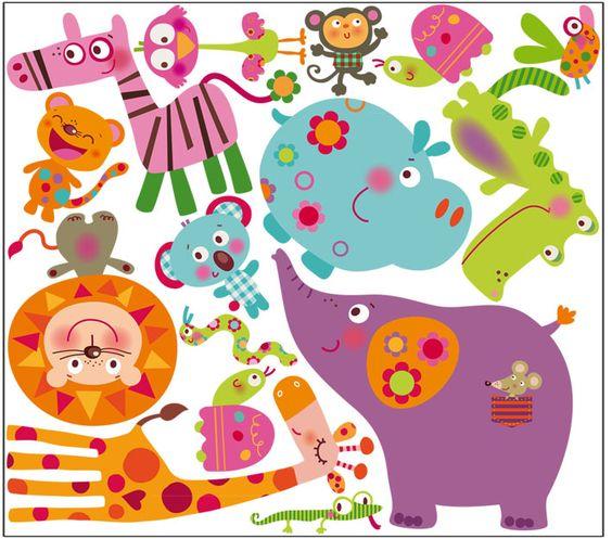 Vinilo decorativo infantil animales selva decohappy for Vinilos infantiles animales