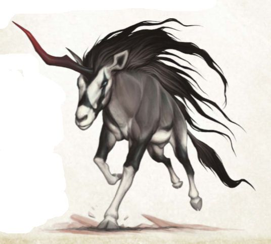 Karkadann (Persian) – While not evil, these are the bullies of the deserts and they think of themselves the rightful Lords of the Deserts. These agressive desert Unicorn are much bigger than their weaker cousins and are truly fearless, they attack creatures much bigger than themselves such as dragons without a chill.