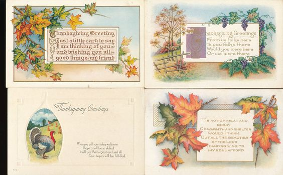 Lot of 4 Autumn  Scenes Poems Antique Thanksgiving Holiday Postcards-kkk866