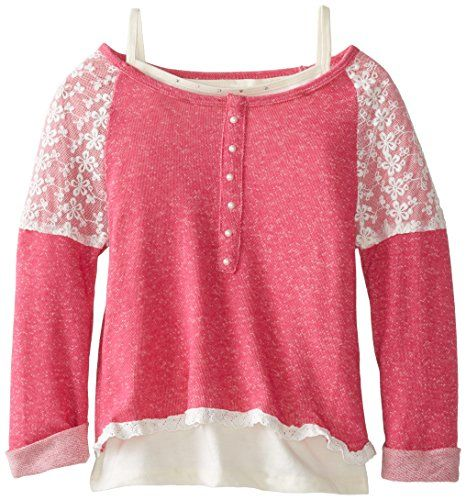 Beautees Big Girls' Lace Trim Pullover Sweatshirt with Tank, Hot Pink, Small