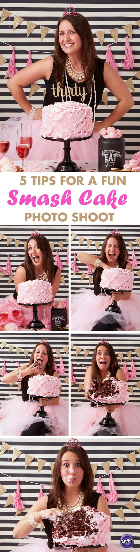 5 Tips for a Fun Grown-up Smash Cake Session –  Do something fun and memorable to celebrate a birthday milestone by holding a fun adult smash cake session. Read our five tips on how to have one awesome smash cake photo shoot!: