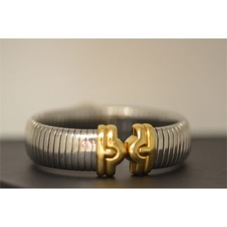 Bvlgari Tubogas Stainless Steel & Gold Bangle Bracelet