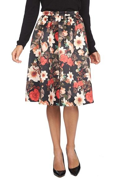 CeCe by Cynthia Steffe Floral Print A-Line Skirt available at ...