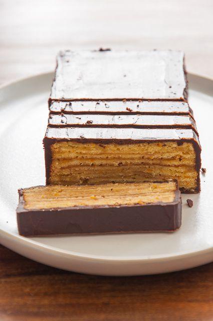 Gateau orange chocolat - Allemagne - Baumkuchen // German Chocolate and Orange Layer Cake