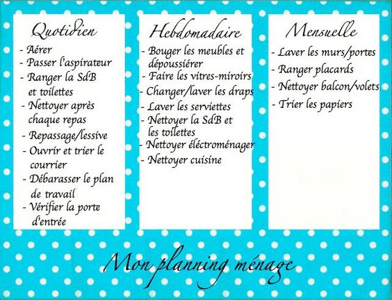 Planning m nage s organiser pinterest - Organisation menage quotidien ...