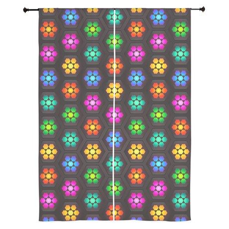 Colorful Polygon Pattern Curtains | Floral flowers, Flower and ...