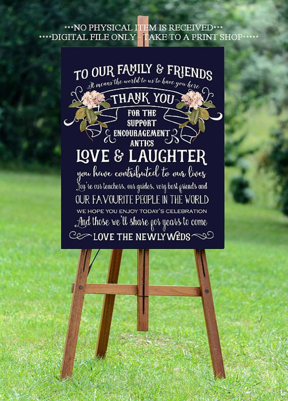 thank you wedding sign  navy thank you sign by OurFriendsEclectic