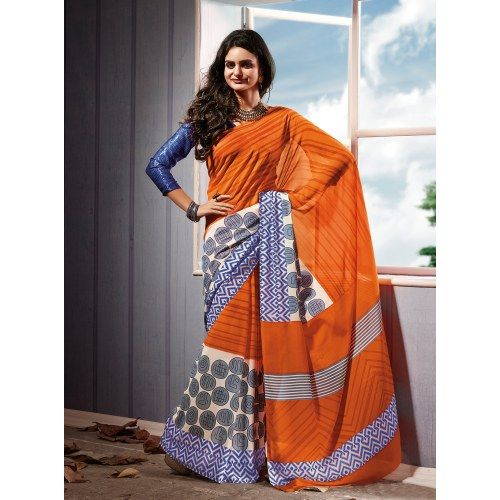 Lovely Orange color printeed saree with new stylist look for new genration lady