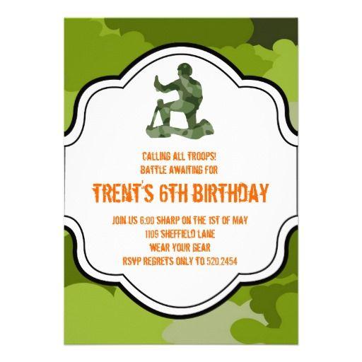 camo army man hunting adult boy twins birthday invites