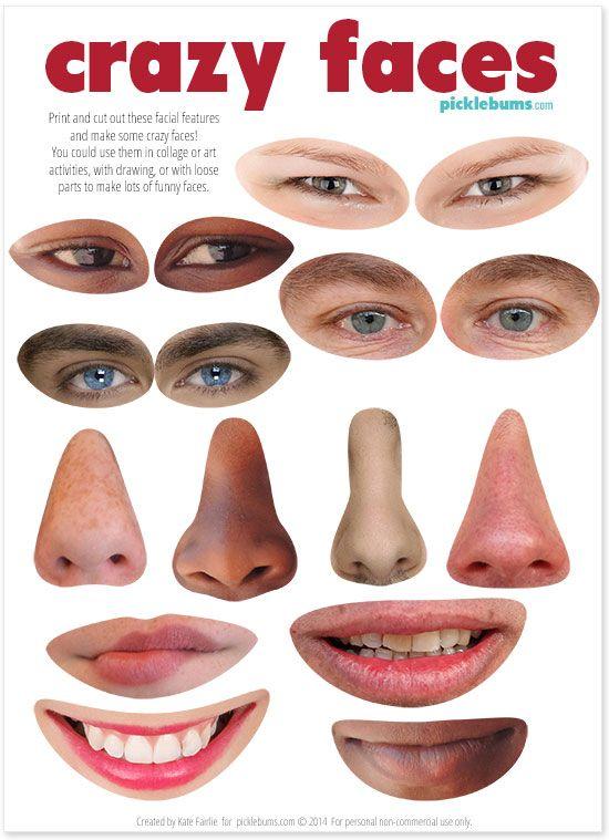 Faça alguns caras loucos com algumas peças soltas e as nossas características faciais imprimíveis gratuitos!