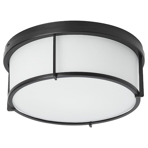 Nymane Led Ceiling Lamp Anthracite Ikea In 2020 Ceiling Lamp Ceiling Lamp Black Glass Lamp