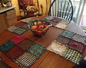 Rustic Rag Quilt Table Runners Rustic by TheLaughingBlackbird