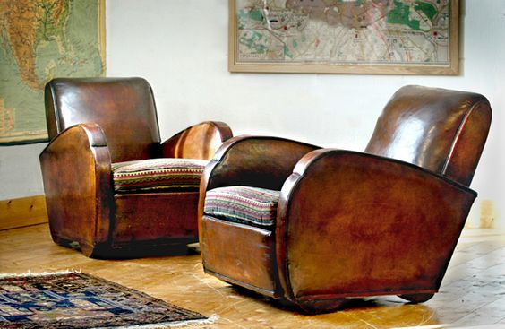 worn leather club chairs in Art Deco Style - never wrong