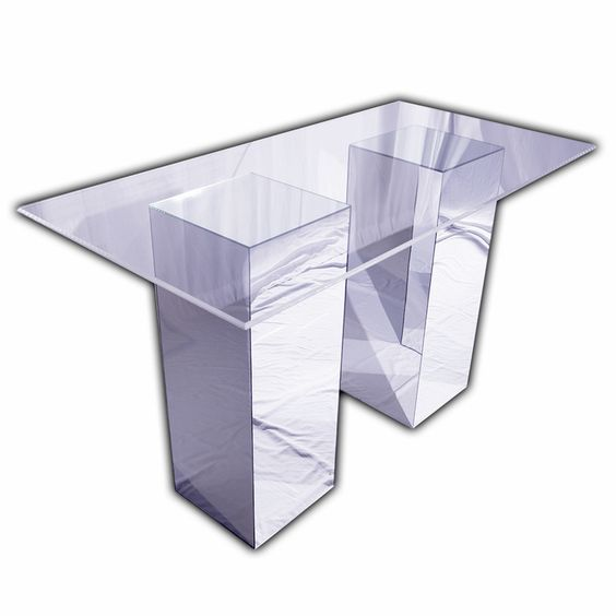Genial Reflection Bar Table (Mirror Bases With Clear Acrylic Top). 3u0027 X 6