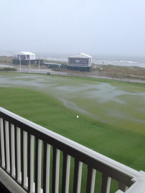 'Putting green is not looking good right now!!' tweeted Bubba Watson on Tuesday, offering this photo up as proof.