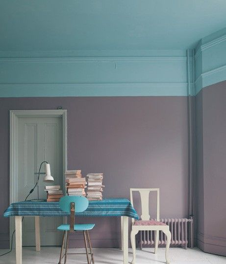 I like this daring color blocked wall.  Paint colors from Farrow & Ball.