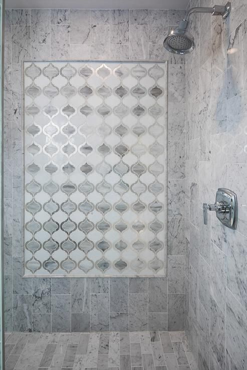 Finished Updated Walk In Shower With Glass Door Arabesque Glass Accent Tiles And Kholer Shower F Shower Accent Tile Tub With Glass Door Bathroom Design Luxury