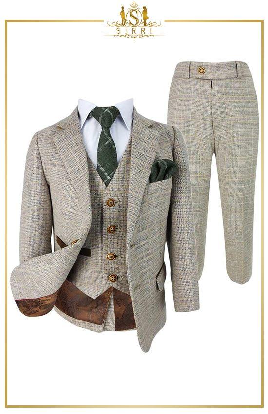 Paul Andrew Herren Jungen Karierter Tweed Retro Anzug In Beigebraun In 2020 Anzug Anzug Herren Anzug Jungen