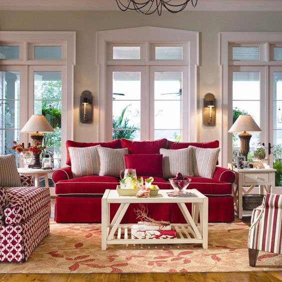.YES!! Any Red, Anytime, Anywhere!! RED IS MY FAVORITE COLOR...I want it all over my home!!..(Love this couch!!)