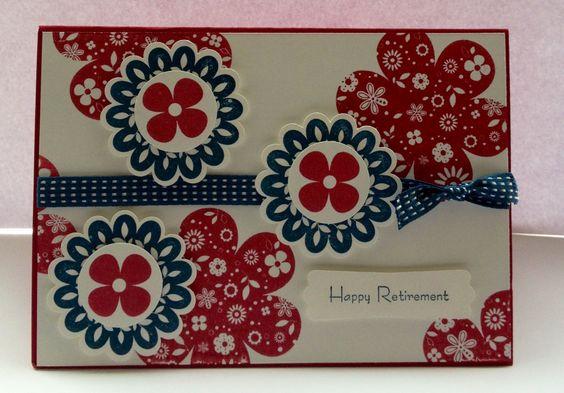 Retirement card made using Printed Petals stamp set.