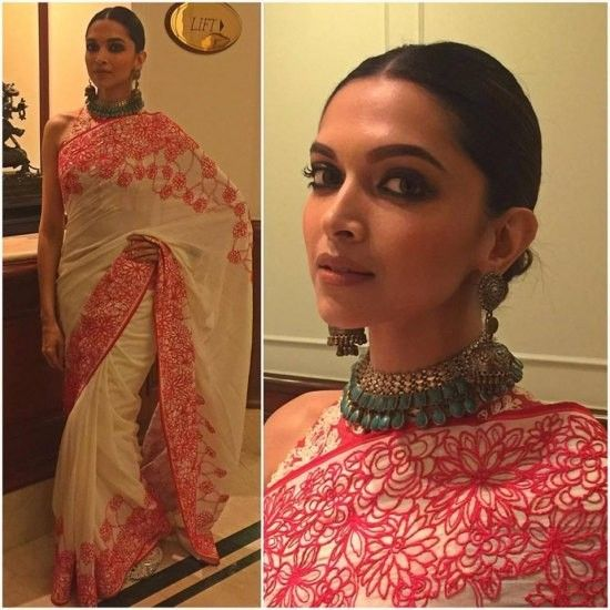 Deepika Padukone In Designer Saree Deepika Padukone Style White Saree In Red Thread Work Saree Designer Sar Deepika Padukone Saree Deepika Padukone Style Saree