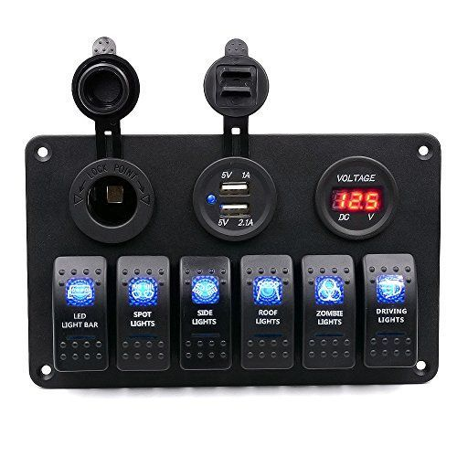 4.2A 12V LED Dual USB Charger Voltmeter Rocker Push Switch For Car Marine Boat