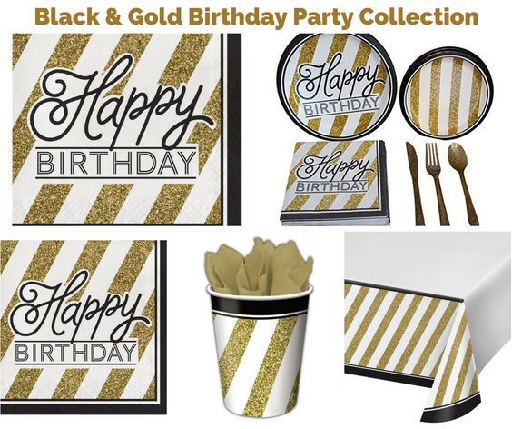 Black and Gold Birthday Party Banner