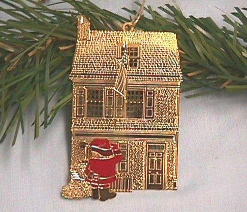 Betsy Ross House BRASS Ornament with Santa by RachaelAPeden