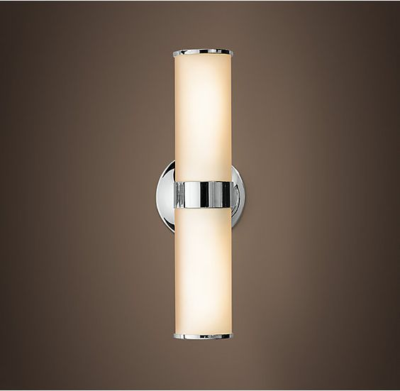 "Sutton Double Sconce from Restoration Hardware.  Available in Satin Nickel, Polished Chrome, and Polished Nickel. 5""W x 4½""D x 15""H.  4.92""diameter backplate."