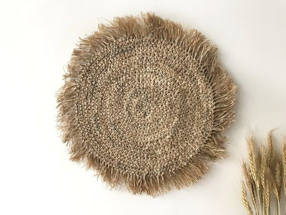 Seagrass wall baskets. Raffia round oak wall hanging. Rustic boho seagrass wall art. #bohodecor #Wallbasket #Rattan