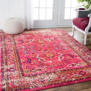 Nuloom Pink Traditional Vintage Floral Distressed Area Rug Shop For Nuloom Traditional Vintage Floral Distressed Pin In 2020 Pink Rug Rugs In Living Room Pink Area Rug