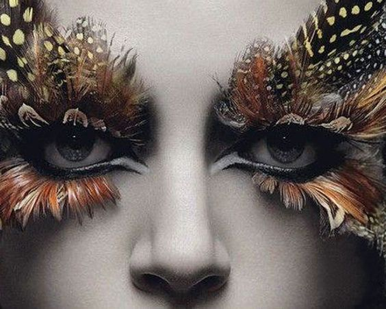 crazy! feather lashes and makeup for a bird costume