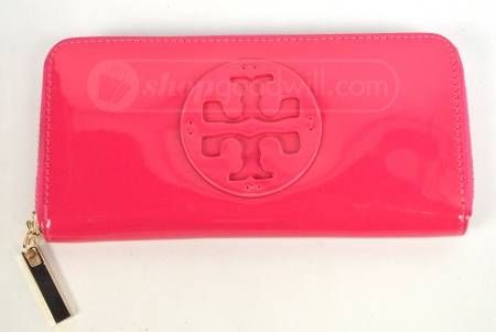 Tory Burch neon pink cosmetic bag