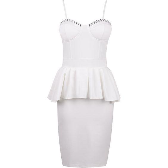 White Diamonte Bustier Peplum Dress ($13) ❤ liked on Polyvore