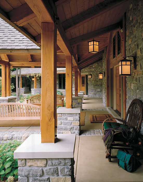 pictures of stone accents used in log homes | logs, stone and woods