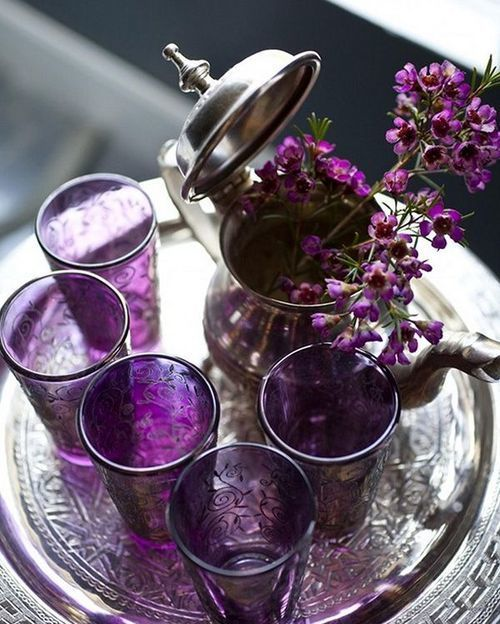 violet tea glasses:
