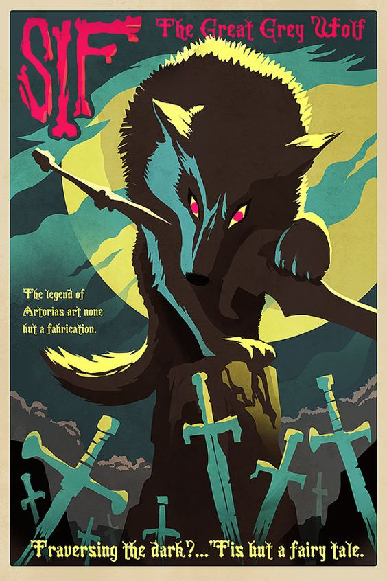 Dark Souls Poster  Great Grey Wolf Sif  24x36 Print by Crowsmack, $39.95