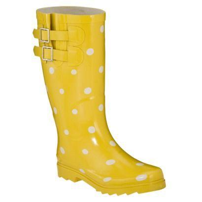 Womens Novel Dot Rain Boots - Yellow/White- Need something to wear