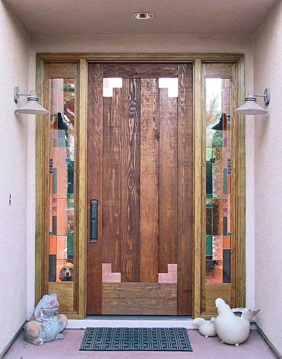 Rustic entry door with stained glass an 8 39 high by 40 for Wide exterior door