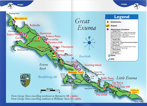 exuma island MAP COURTESY OF EXUMA VISITORS GUIDE – Bahamas Tourist Attractions Map