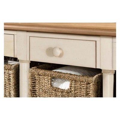 Seneca Sofa Table With Three Drawers Wood Driftwood Top Sea White