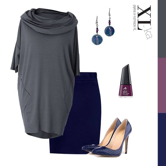 Granatowa spódnica i luźna grafitowa tunika to propozycja na sobotę. XL-ka poleca wygodny zestaw w którym można wypocząć i spotkać się ze znajomymi.